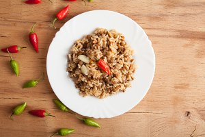 Lentils and rice with chilli pepper