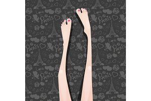 Beautiful Female Legs Drawn in Lines