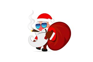 Santa Claus pulls a heavy bag full of gifts on winter landscape background.