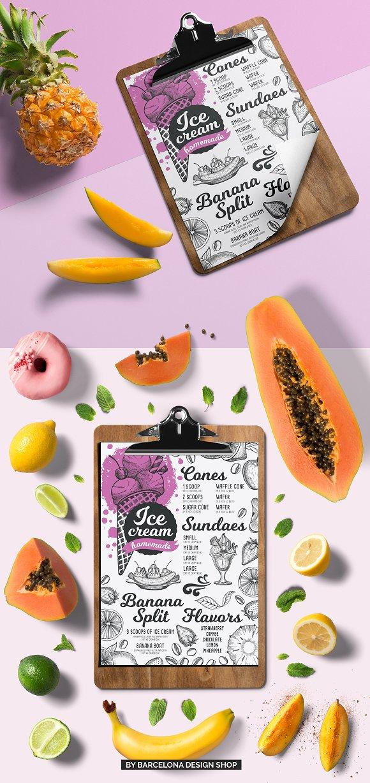 ice cream dessert menu brochure templates creative market