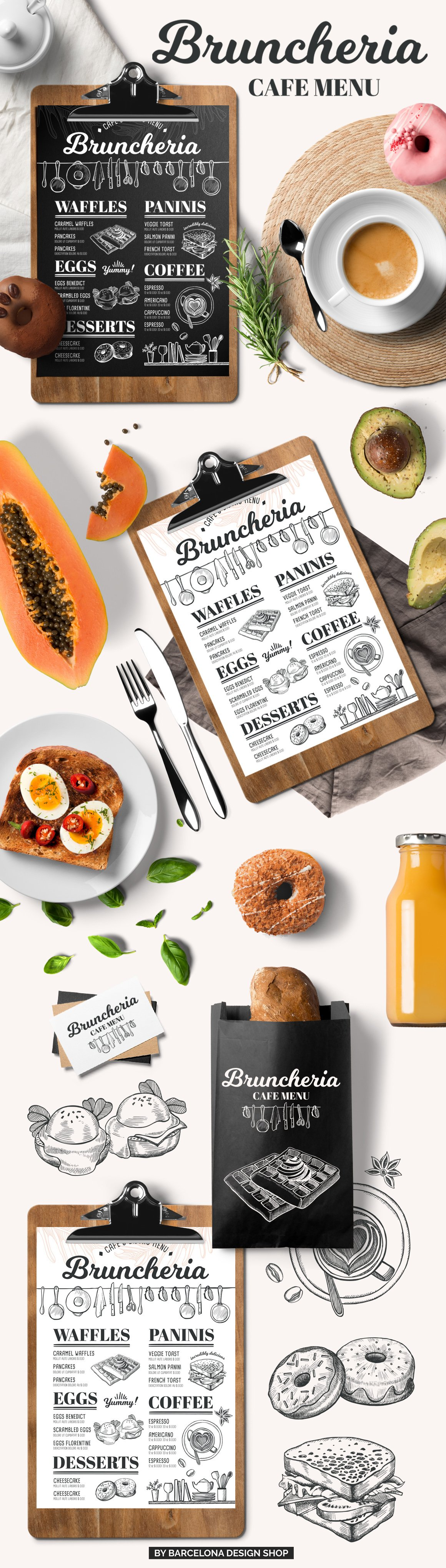 brunch menu restaurant template brochure templates creative market