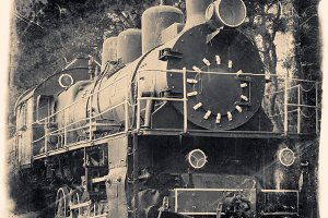 Old locomotive, vintage stylized