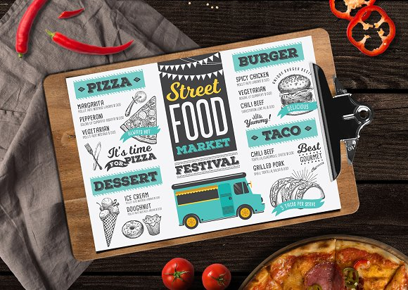 food truck menu brochure templates creative market