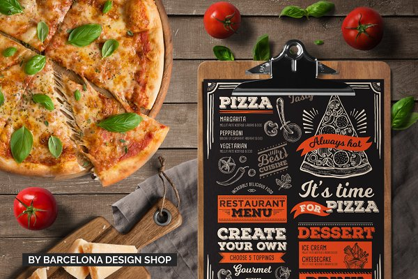 pizza food menu template brochure templates creative market