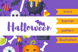 Flat Halloween elements