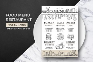 FREE! Trifold + Food Menu Restaurant