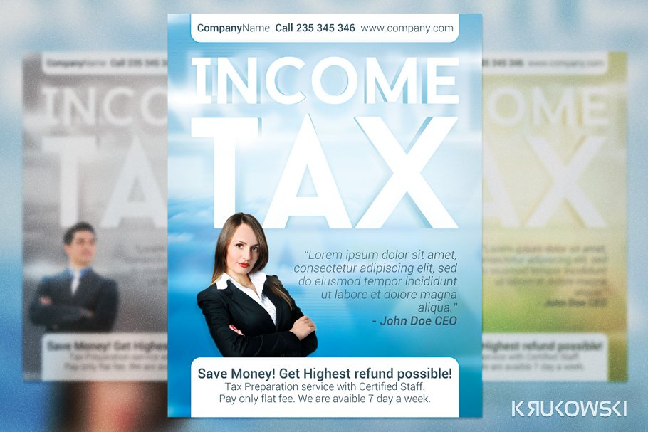 Income Tax Flyer Flyer Templates Creative Market