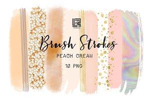 Cream peach. Brush strokes clipart