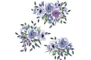 Watercolor Periwinkle Flowers