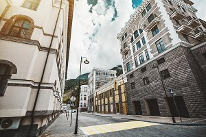 Empty neat urban street