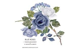 White & Blue Roses Clipart