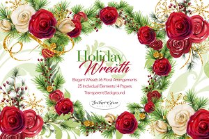 Watercolor Flowers-Christmas Wreath