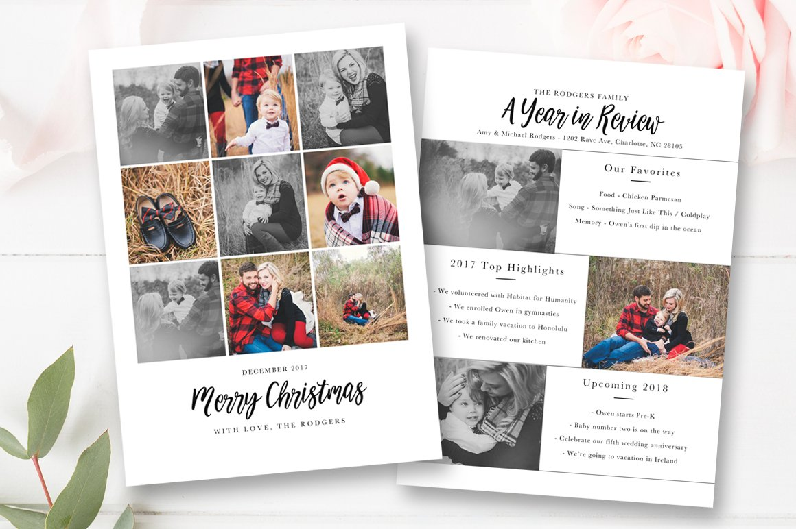 Year In Review Christmas Card Card Templates Creative Market - Christmas card templates for photographers