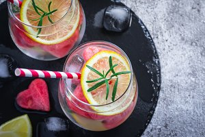 Watermelon lemon Lemonade with pieces of watermelon in shape of heart