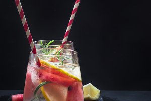 Watermelon lemon drink with pieces of watermelon in shape of heart