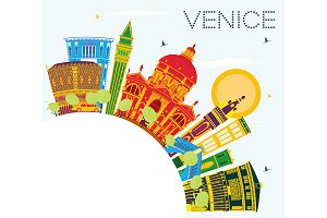 Venice Skyline with Color Buildings