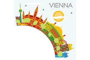 Vienna Skyline with Color Buildings