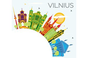 Vilnius Skyline with Color Buildings