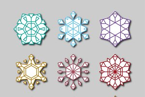 19 different vector snowflakes