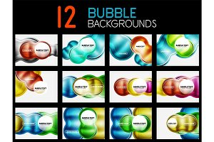 Collection of futuristic glass bubbles backgrounds