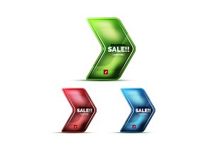 Glossy glass geometric arrow price sale web label, realistic icon