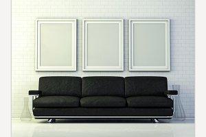 Poster mockup in livingroom.