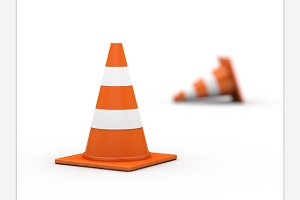 Traffic cones on white background.
