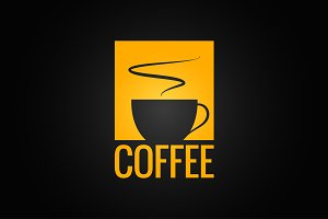 Coffee cup yellow design background