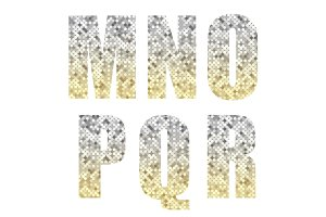 Beautiful trendy glitter alphabet letters with silver to gold ombre