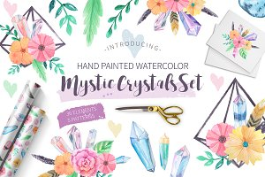 Watercolor Mystic Crystals Set