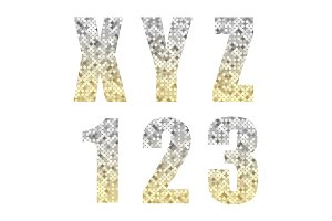 Beautiful trendy glitter alphabet letters and numbers with silver to gold ombre