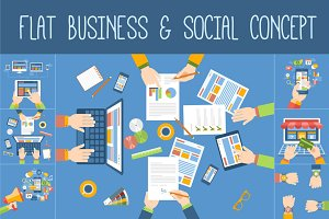 Flat Business & Social Concept