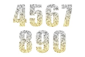 Beautiful trendy glitter alphabet numbers with silver to gold ombre