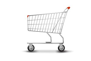 Shopping cart isolated on white background. flat