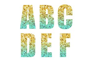 Beautiful trendy glitter alphabet