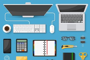 Workspace Top View Icons Set