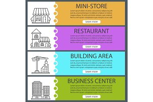 City buildings web banner templates set