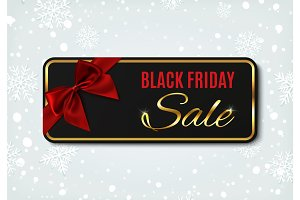 Black Friday sale banner on winter background.