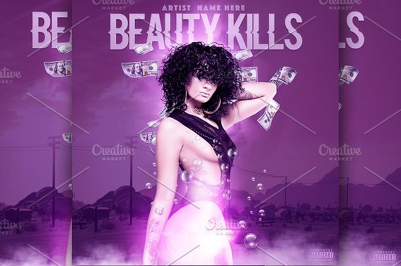 BEAUTY KILLS MIXTAPE COVER TEMPLATE