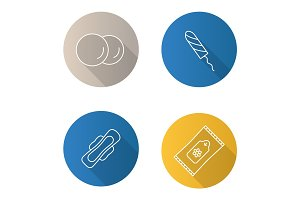 Toiletries flat linear long shadow icons set