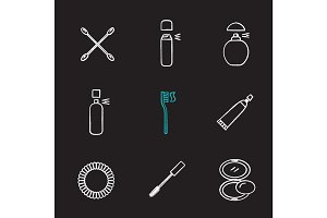Cosmetics accessories chalk icons set