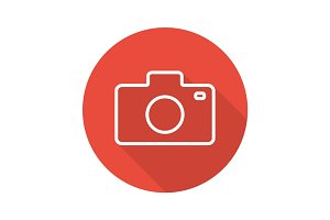 Photocamera flat linear long shadow icon