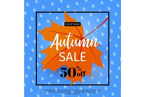Autumn sale. Fall sale design. Can be used for flyers, banners or posters. Vector illustration with colorful autumn leaves