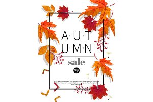 Autumn sale vintage vector typography poster with autumn colour leaves.