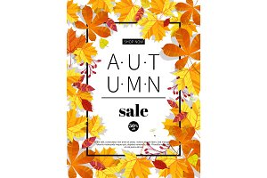 Autumn sales banners for web or print. Fall season sale and discounts banner. Colorful autumn leaves headline and sale invintation on wite background. Vector illustration