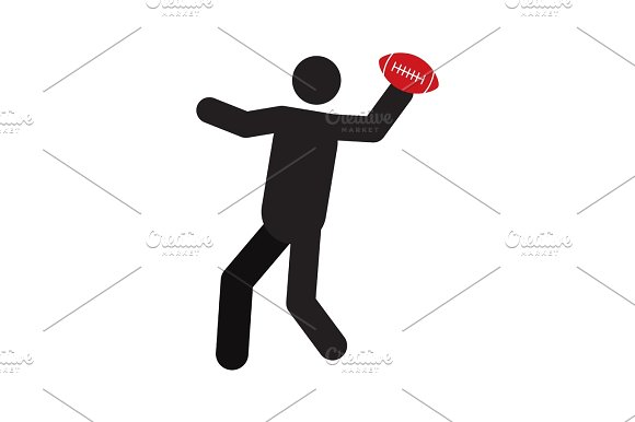 Man Playing American Football Silhouette Icon