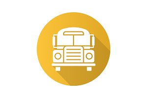 School bus flat design long shadow glyph icon