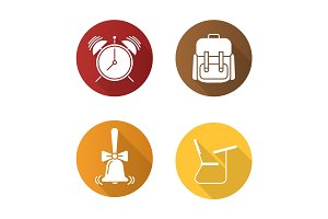 School flat design long shadow glyph icons set