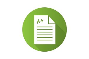 Test paper with excellent mark. Flat design long shadow glyph ic