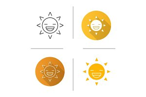 Laughing sun smile icon